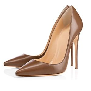 Shoes - Dark Nude Sexy Pointed Toe Stiletto Heels